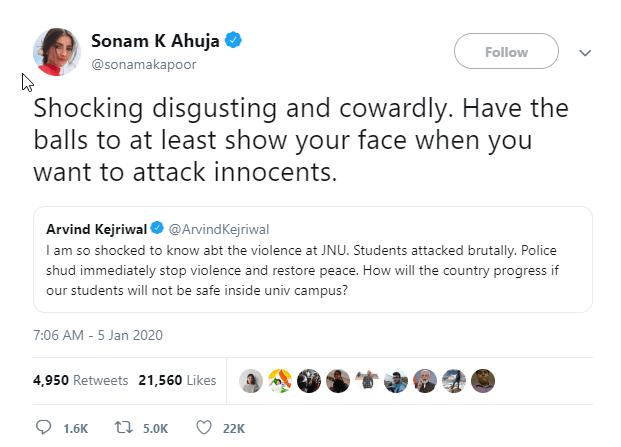 Sonam Kapoor JNU Tweet
