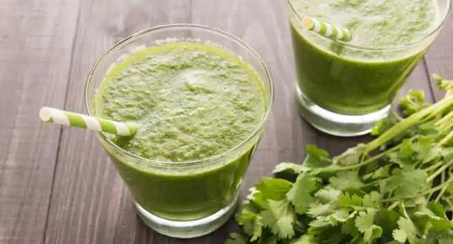 cilantro detox juice- mint and cilantro juice